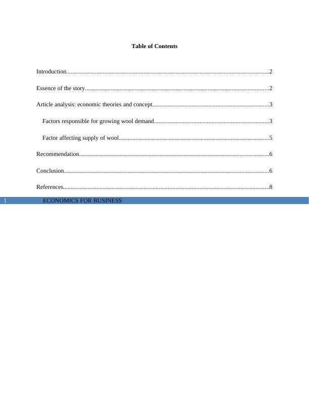 Economics For Business  -   Assignment
