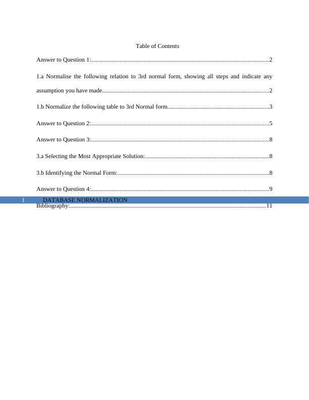 Normalization Assignment | Database Assignment