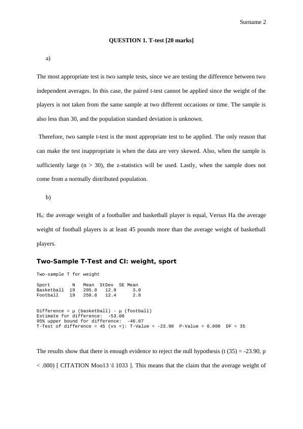 Statistics Assignment - T Test