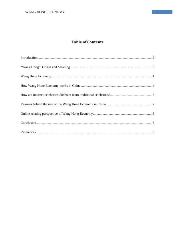 Economics Assignment: Wang Hong Economy