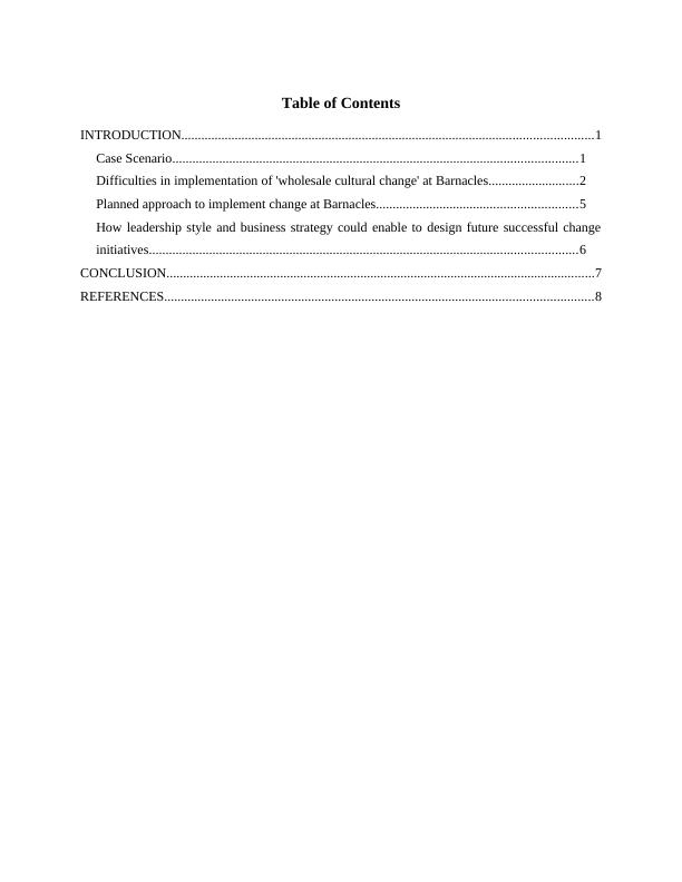 Leading and Managing Change Assignment