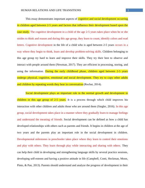 Human Relations and Life Transitions   Essay