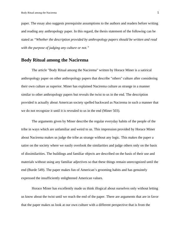 Body Ritual among the Nacirema | Essay