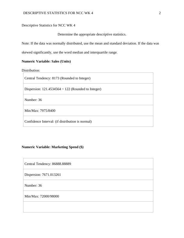 Descriptive Statistics for NCC WK Assignment