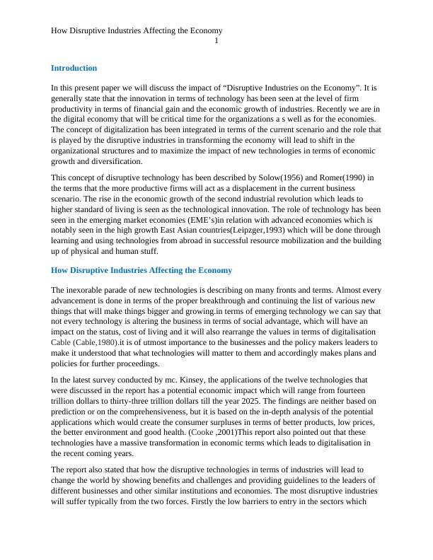 Report on Disruptive Technologies