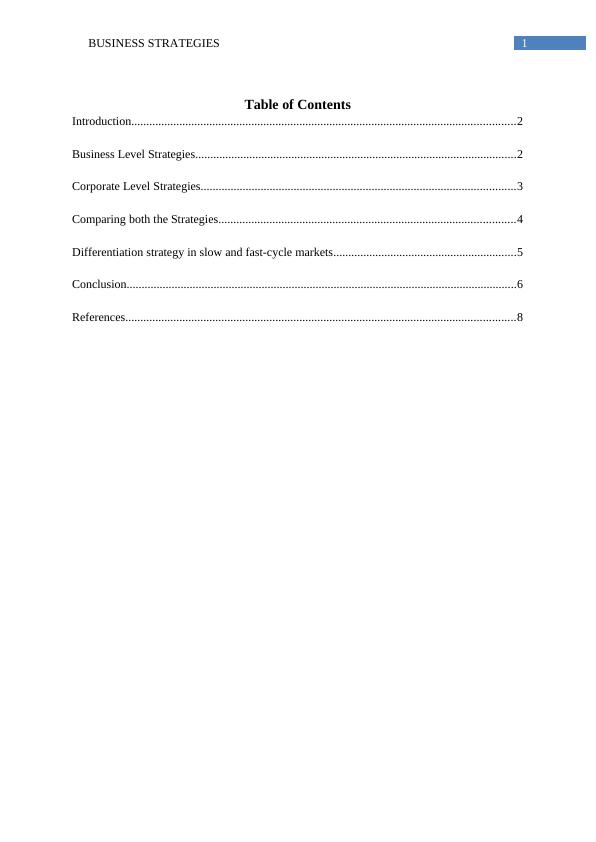 Business Strategies -  Sample  Assignment
