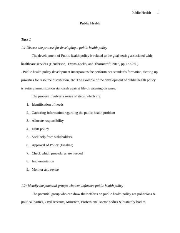 (Solution) Public Health Assignment