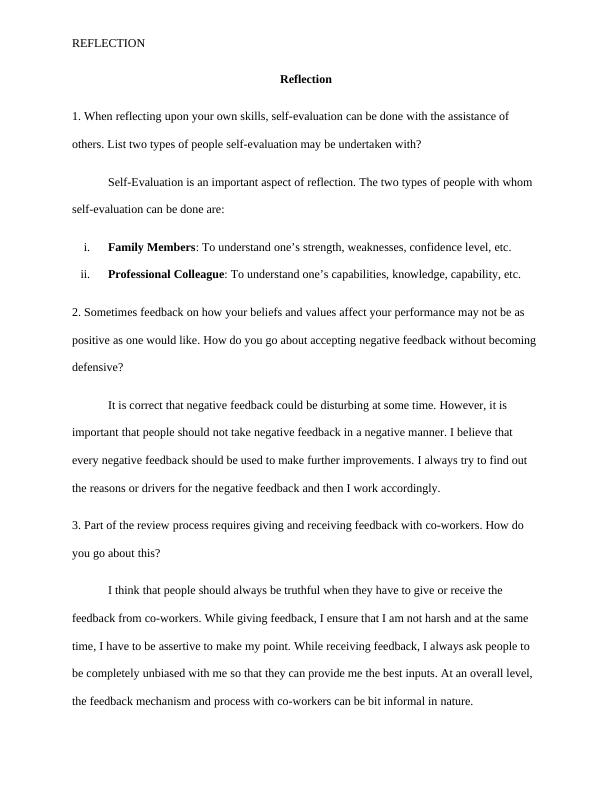 Sample Assignment on Reflection