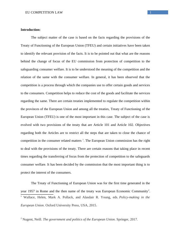 EU Competition Law Assignment