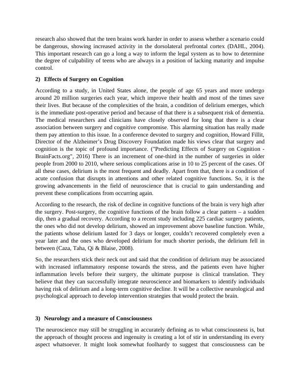 Neurology and Social Psychology   Assignment