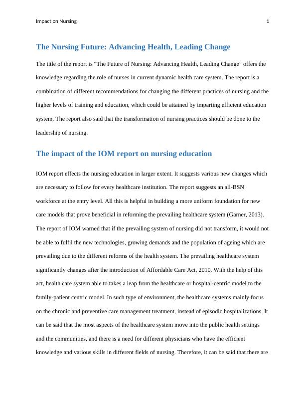 Impact on Nursing- Report