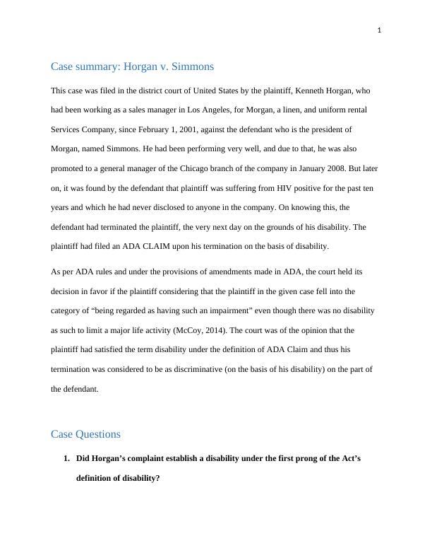 1. Horgan v. Simmons. Patrick Francis, HRMG 5700, Webst