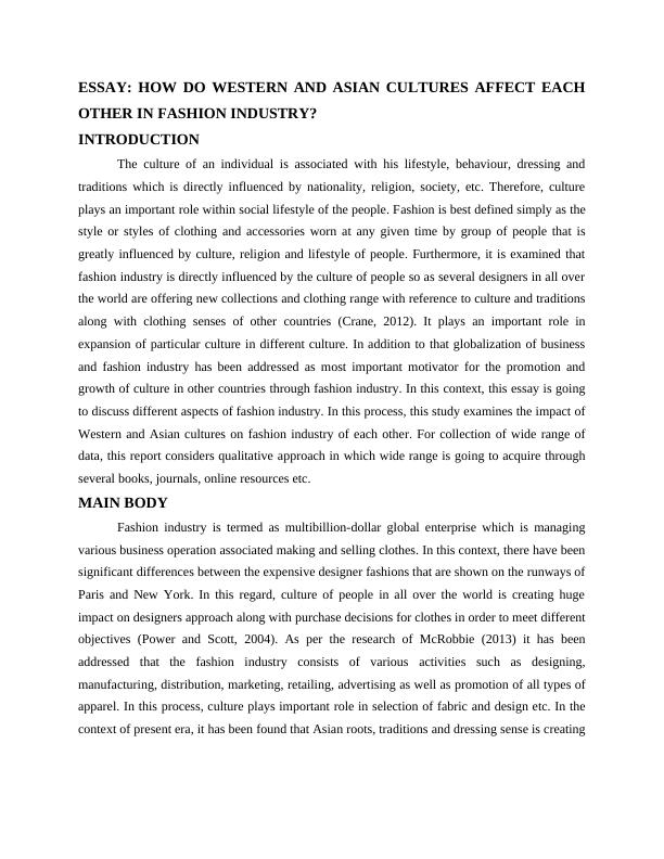 Aspects of Fashion Industry : Essay