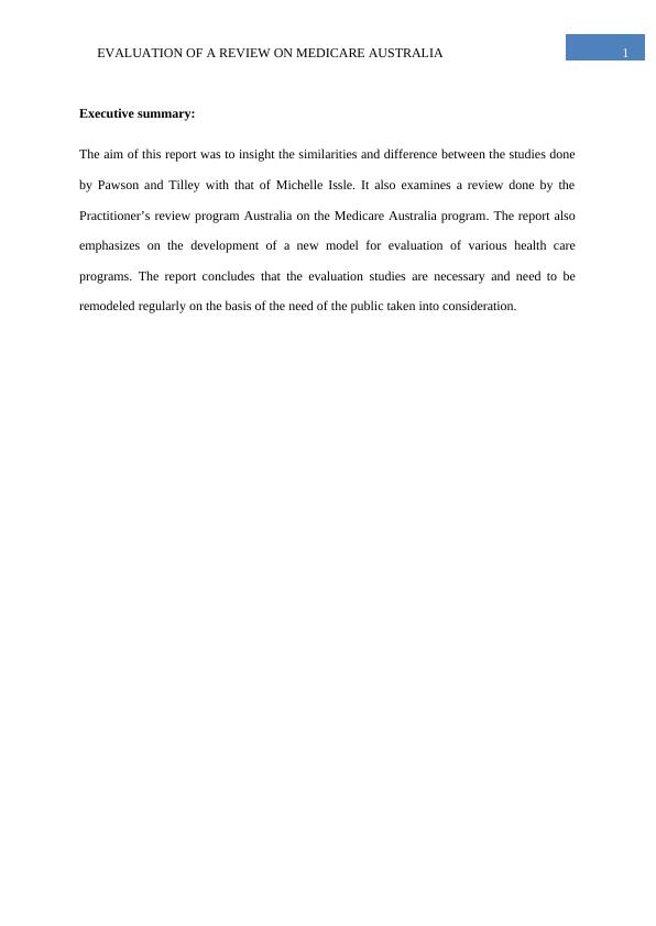 Evaluation of a review of Medicare Australia