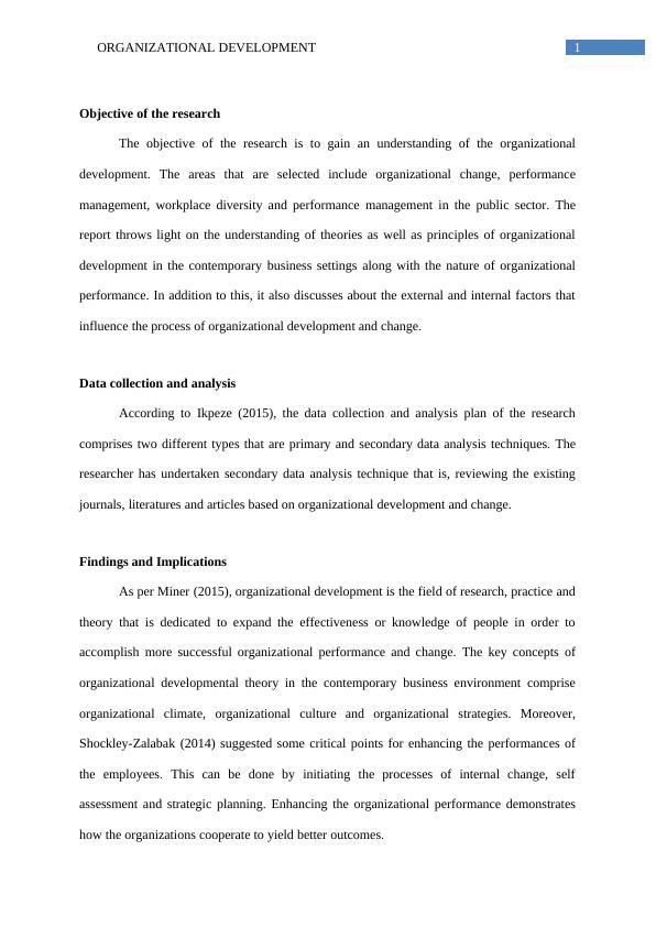 Organizational Development   -  Assignment