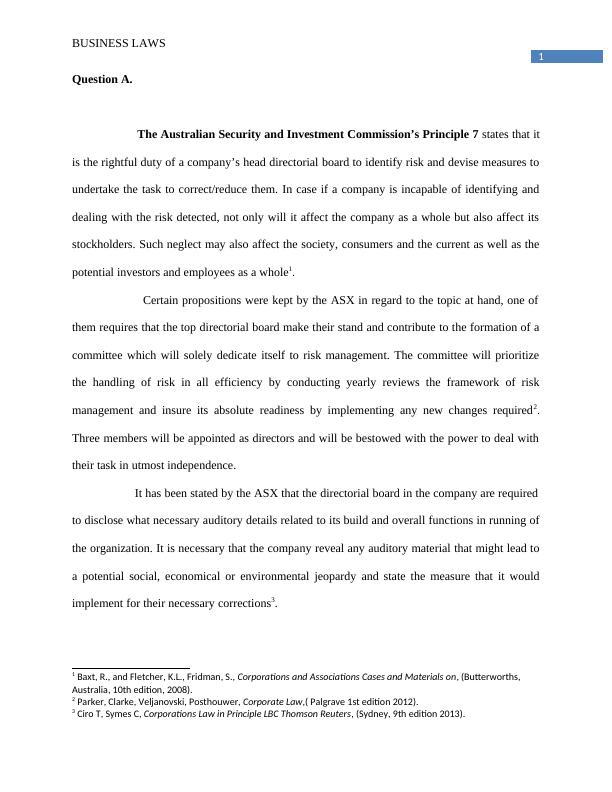 BLO2205 - Corporate Law assignment victoria university
