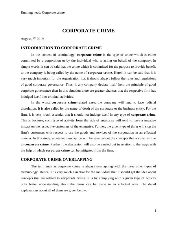 Introduction to Corporate Crime Assignment
