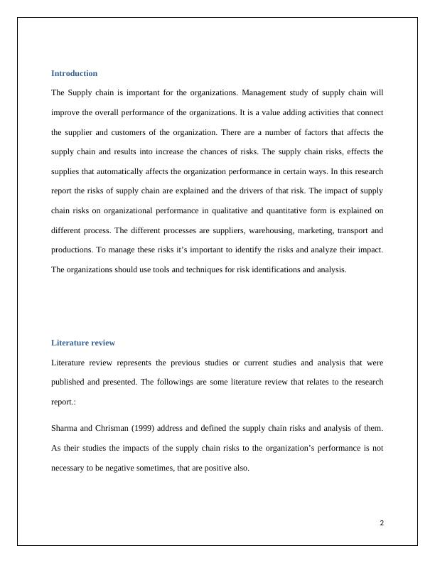 Management Study of Supply Chain