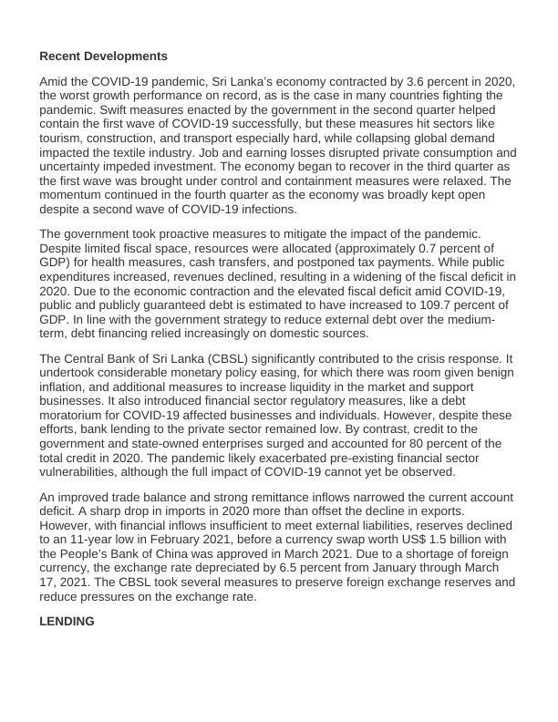 Current Economic and Political Conditions in SriLanka PDF