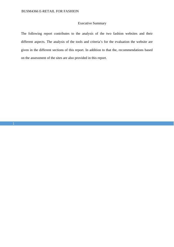 BUSM4366 E-Retail for Fashion  Assignment