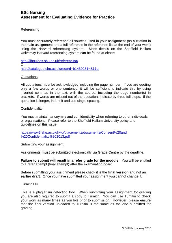 BSc Nursing. Assessment for Evaluating Evidence for Pra