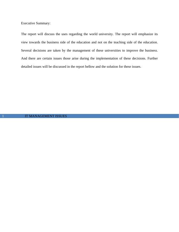 (Doc) IT Management Issues: Assignment