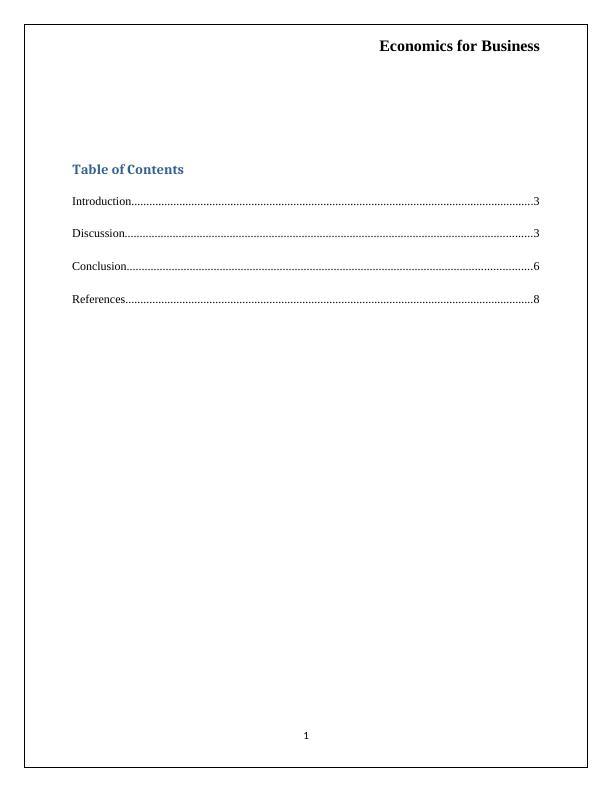 HI5003 Economics for Business- Car Manufacturing Industry in Australia