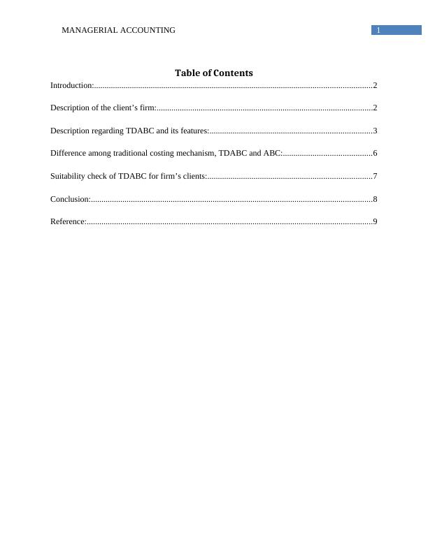 Introduction to Managerial Accounting : Assignment