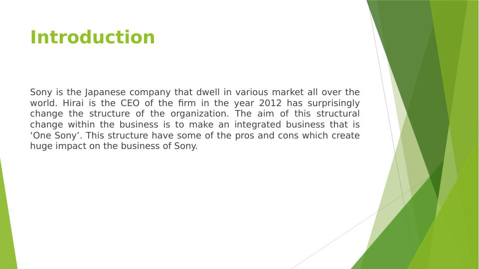 Business Environment Assignment : Sony