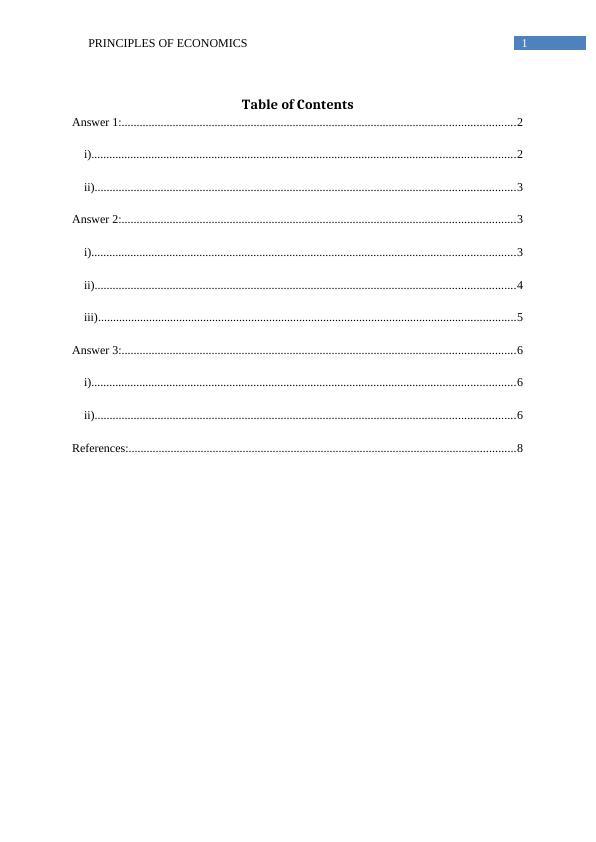 Principles of Economics  -  Assignment