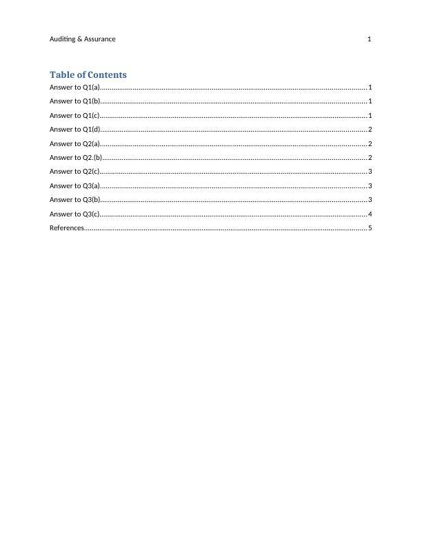 Auditing & Assurance Assignment
