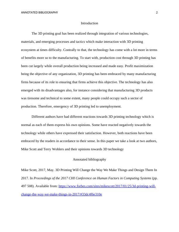 Annotated Bibliography -   Assignment PDF