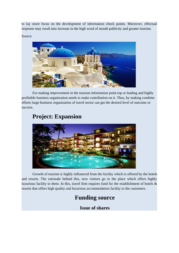 Project on Expansion Growth of Tourism