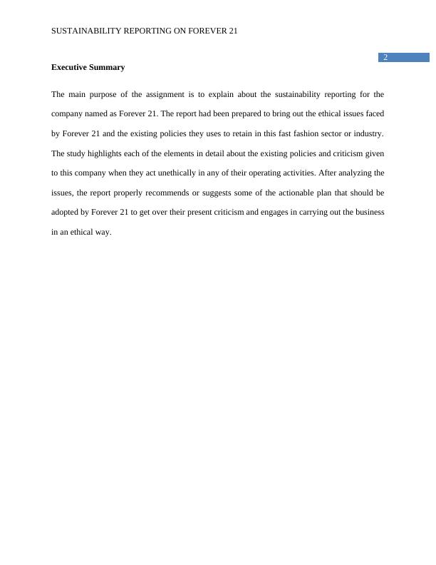 Sustainable Reporting of Forever 21 - Assignment