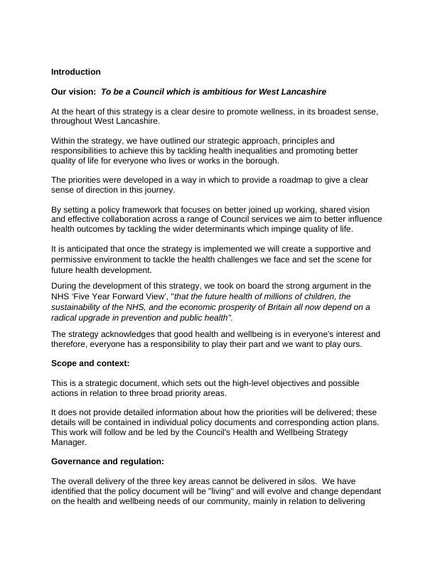 Assignment On West Lancashire Borough Council Strategy