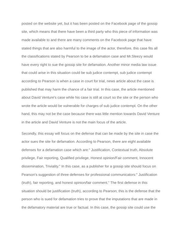 Essay on Media Law Problem