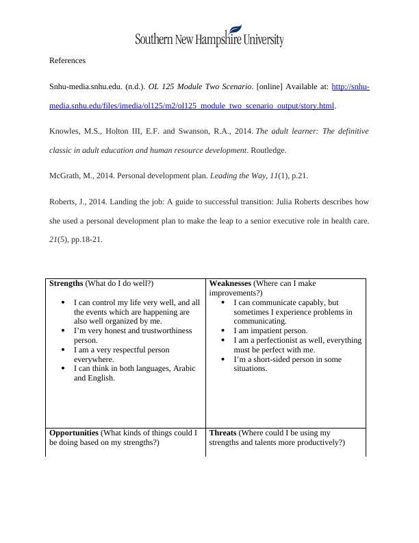 OL 125: Personal Development Plan