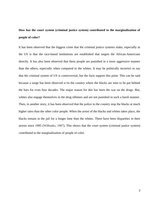 Final paper. Marginalization of people of color means t