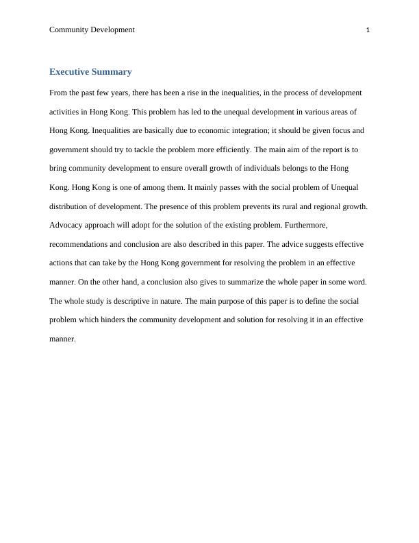 Community Development Project Assignment