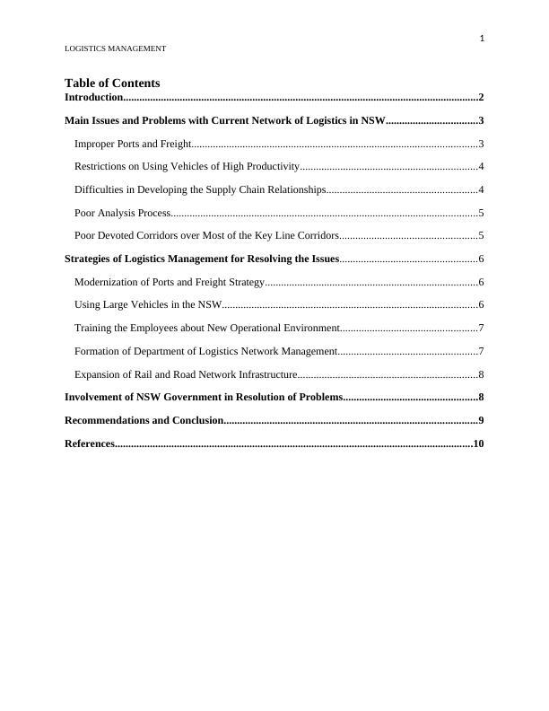 Assignment Logistics Management - Network