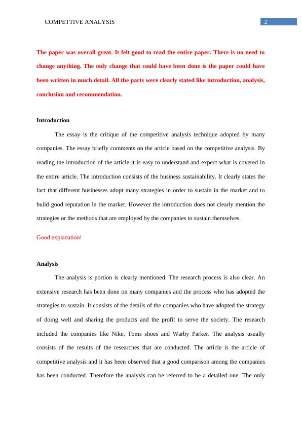 Competitive Analysis: Essay