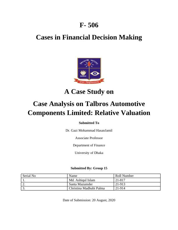 (solved) Cases in Financial Decision Making