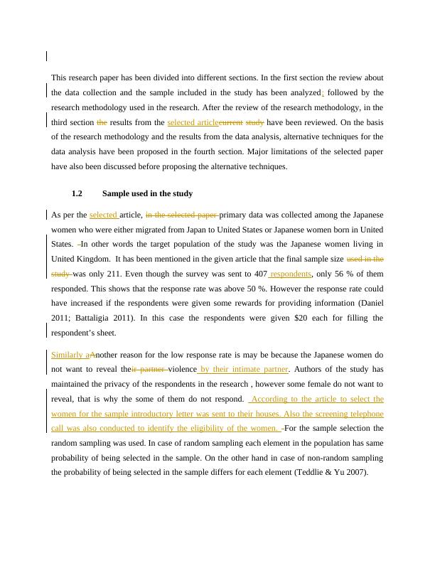 Research Paper on Statistical Methods
