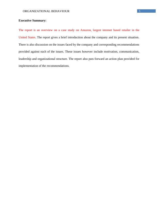Organizational Behaviour of Amazon company : Case Study