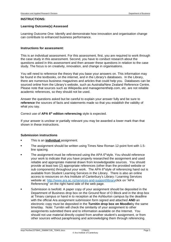 Education and Applied Research Division Department of Business Assignment PDF