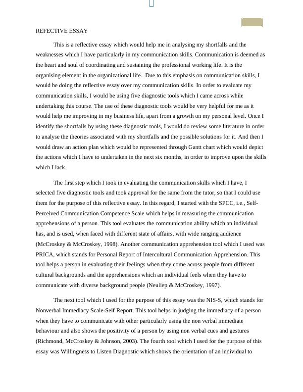 Communication Assignment Essay