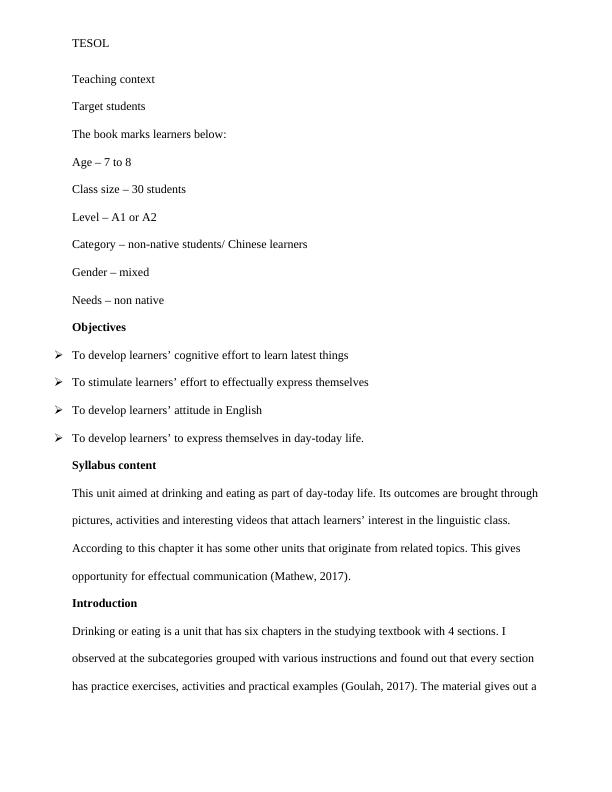 Sample Assignment on Tesol PDF