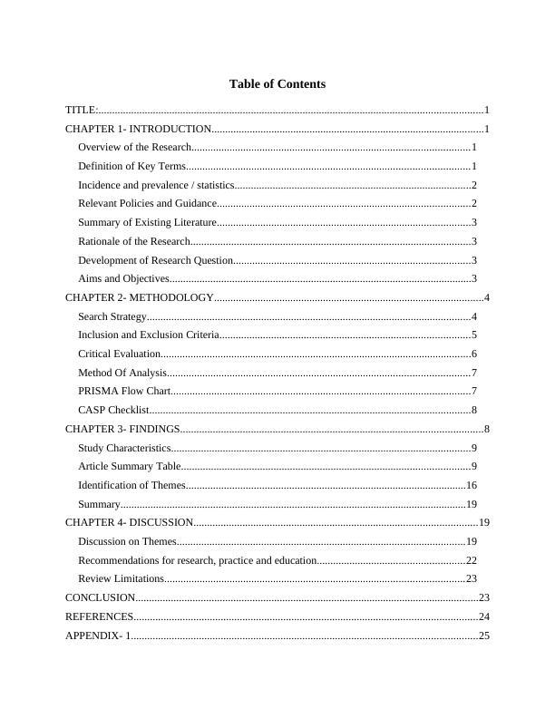 Dissertation Assignment Solution