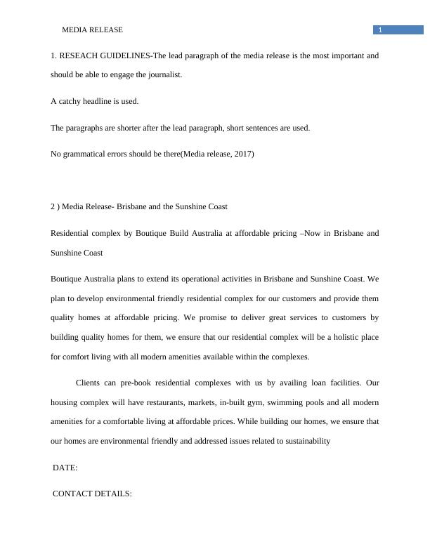 Media Release and Lead Paragraph Study