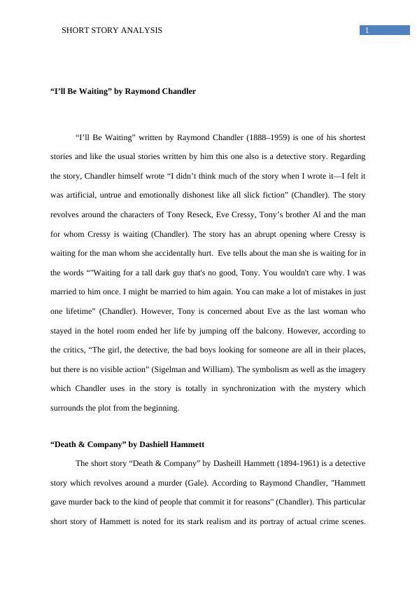 (PDF) Short Story Analysis